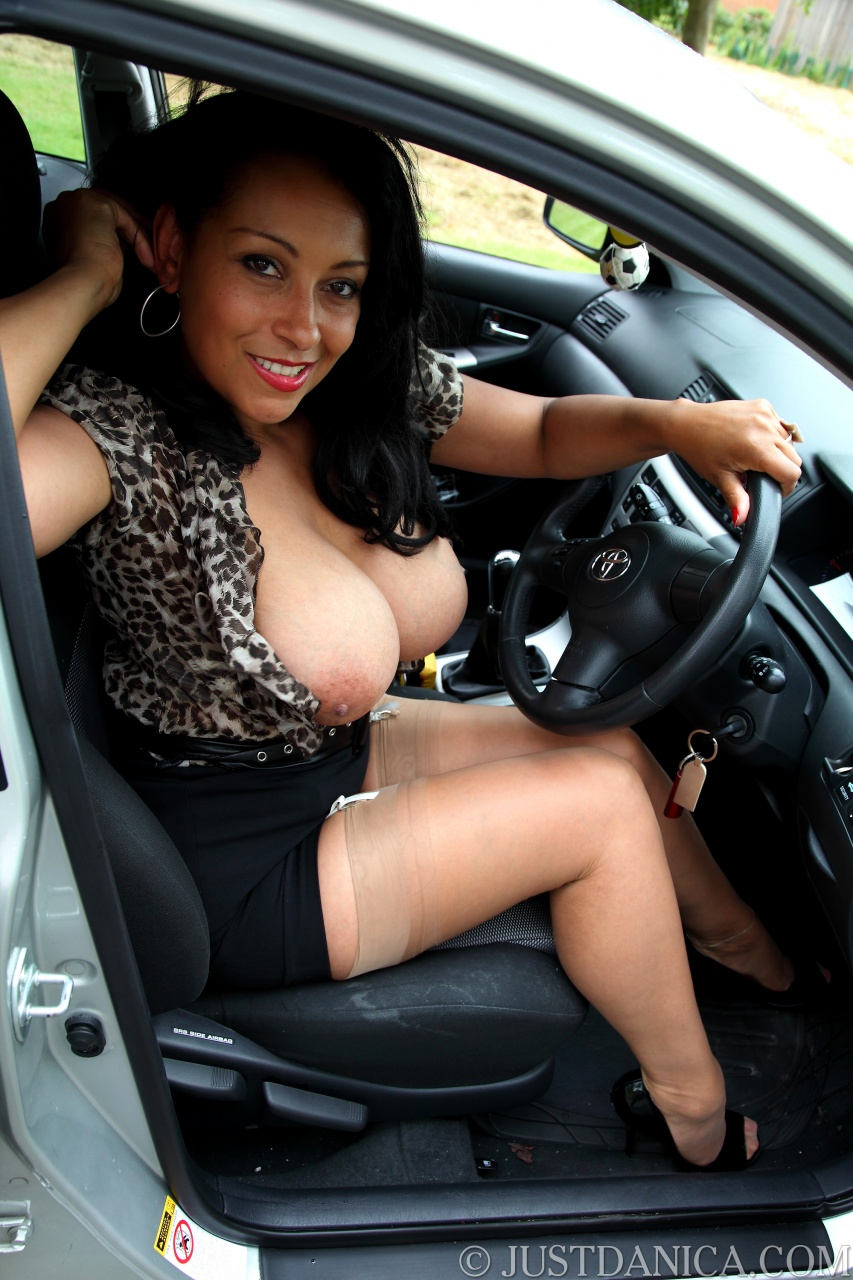 Milf shows pussy while driving scene with