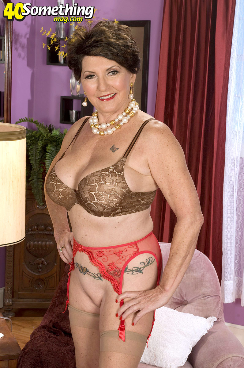 Tits milf belts big stockings garter