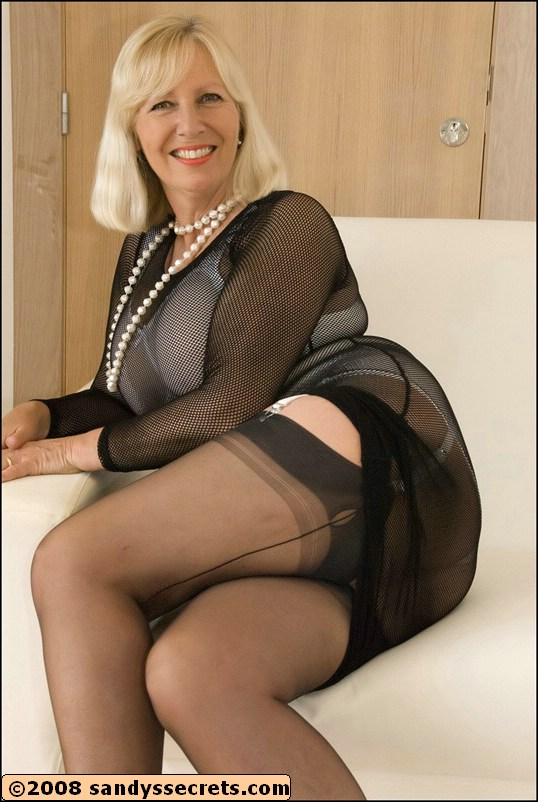 Blonde milf black chair