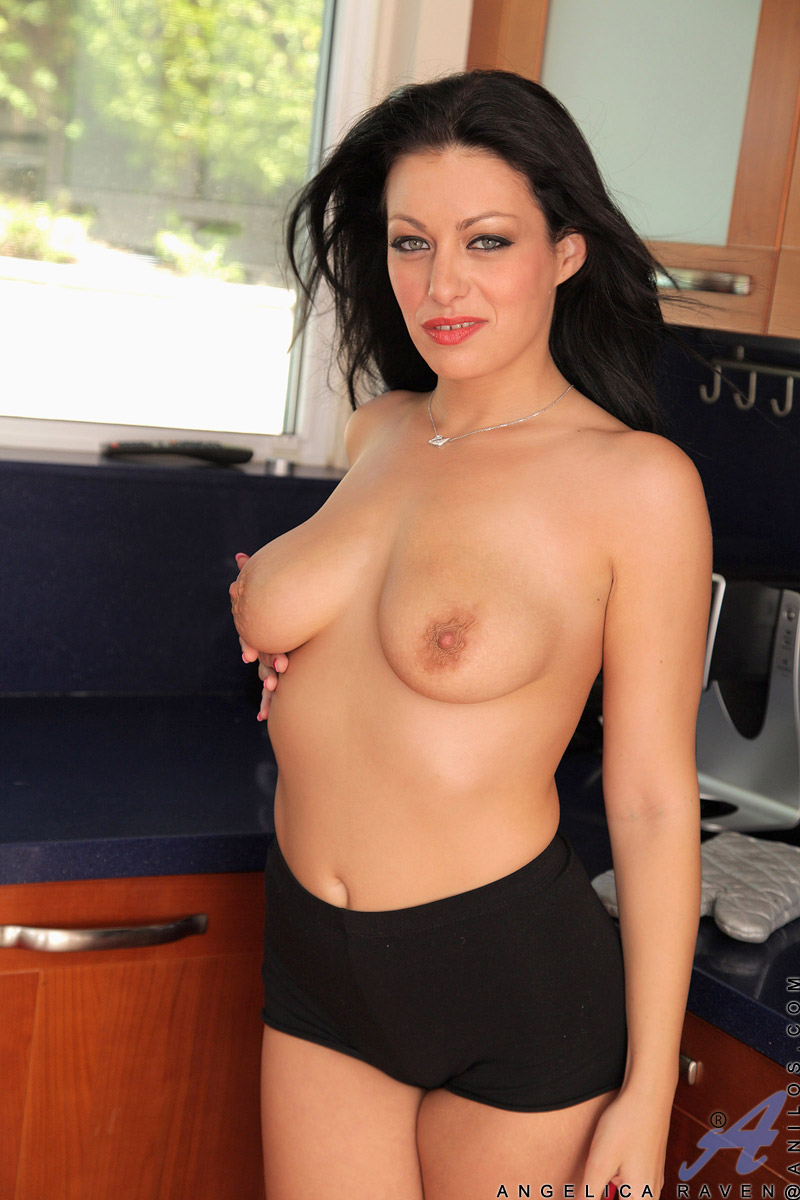 Dark raven-haired milf