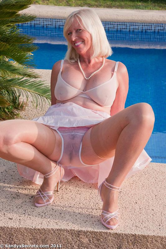 Nude blonde tan lines boat