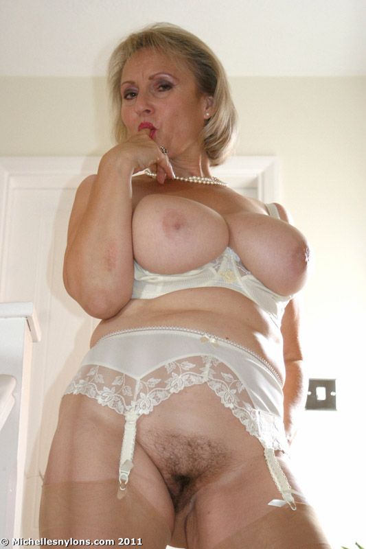 Massive boobs mature blonde babe in pantyhose