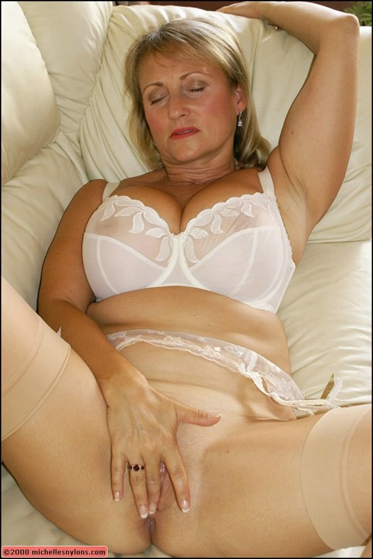 Will amateur blonde white lingerie stockings