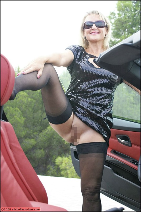 stockings Mature car nylon michelle